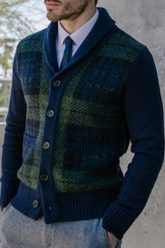 Guys, looking for the perfect holiday sweater? Take a tip from Derek John and go with our green and navy brushed plaid shawl cardigan | Banana Republic