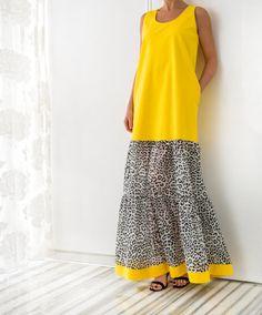 Yellow Cotton Maxi Dress Plus size dress by cherryblossomsdress