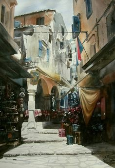 """Saatchi Art Artist Paul Dmoch; , """"Ruelle de Kerkira"""" #art"""