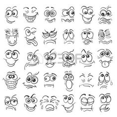 f2caa22da13 Cartoon face Emotion set. Various facial expressions in doodle style  isolated on white. Vector
