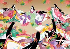 women dressed in junihitoe Geisha Anime, Geisha Art, Manga Anime, Heian Era, Heian Period, Japan Illustration, Japanese Costume, Graphic Artwork, Japanese Outfits