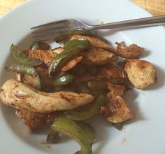 The Cambridge Plan step 2. Evening meal. Peppers and chicken with a seasoning.