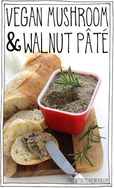 Vegan Mushroom & Walnut Pâté is the perfect party appetizer. Quick and easy to make, can be made ahead of time, full of flavour, a total crowd pleaser. Perfect for the holidays or Thanksgiving. #itdoesnttastelikechicken