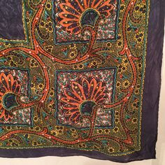 Vintage Scarf Groovy 60s Purple Orange Teal Yellow Ivory Papyrus Leaves and Paisley by CarolinaThriftChick on Etsy