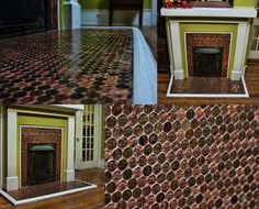 The secret of this fireplace's coppery glow? Its inexpensive DIY surround is made of pennies.