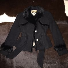 Peacoat with rabbit fur collar Black coat with rabbit fur collar and detail with attached belt Jackets & Coats Pea Coats