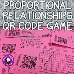 Print and go with this QR Code game. In this activity students review identifying proportional relationships and calculating a constant rate of change and/or unit rate.  Students are engaged as they check their answers using QR Codes and play against their classmates.Can be played with or without the QR Codes.