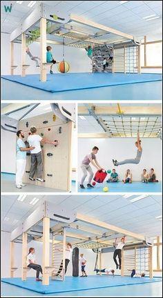 Playroom Design: DIY Playroom with Rock Wall. Playroom Design: DIY Playroom with Rock Wall. Playroom Id Kids Indoor Gym, Kids Gym, Indoor Jungle Gym, Spy Kids, Kids Bedroom, Bedroom Decor, Playroom Design, Playroom Ideas, Basement Gym