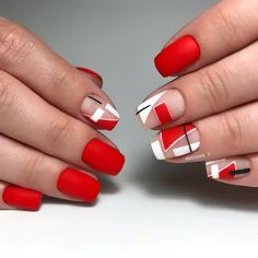 2019 classy nail art designs for short nails Fancy Nails, Red Nails, Cute Nails, Pretty Nails, Classy Nail Art, Cool Nail Art, Red Nail Art, Gothic Nails, Nagellack Trends