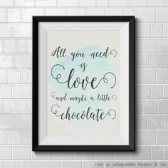 "Printtitaulu ""All you need is love and maybe a little chocolate"", beige / vaal.sin."