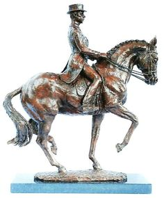 Bronze Horse / Equines sculpture by artist Lorne Mckean titled: 'Carl Hester on Uthopia performing Piaffe statue' £7,000