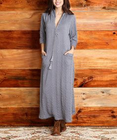 $49.99 Look what I found on #zulily! Gray Cable-Knit Hooded Maxi Dress #zulilyfinds