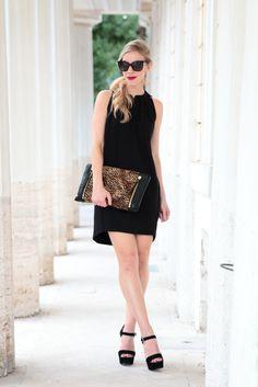 LBD & Leopard: HOSS Intropia black trapeze dress, leopard oversized clutch, Prada black suede platform sandals, LBD outfit, black dress with leopard bag