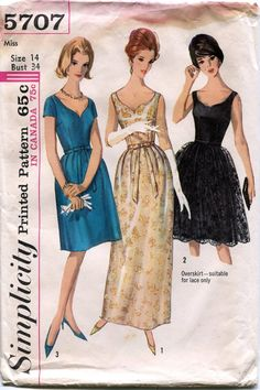 Vintage 1960s Cocktail Dress Pattern Simplicity by downthestreet, $20.00