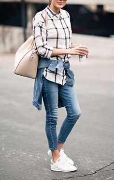 shirt denim slim jeans skinny jeans nude bag stan smith denim jacket outfit street style summer idea checkered tartan