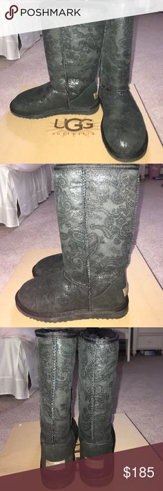 UGG Classic Tall Boots Black Paisley Print Never worn, perfect condition! 100% AUTHENTIC. UGG Classic Tall Boots Black Paisley Print. Includes box ! Size 6. UGG Shoes Winter & Rain Boots