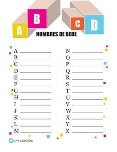 Nombres de Bebe. Juegos Imprimibles para Baby Shower | Live Colorful