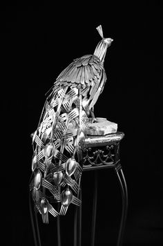 """Peacock"" made of silverware - by Gary Hovey/ Hoveyware Sculptures"