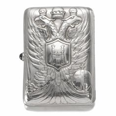 A FABERGÉ IMPERIAL PRESENTATION SILVER CIGARETTE CASE, WORKMASTER MICHAEL PERCHIN, ST PETERSBURG, 1899-1903, struck with workmaster's initials and Fabergé in Cyrillic, 84 standard, scratched inventory number 9376.