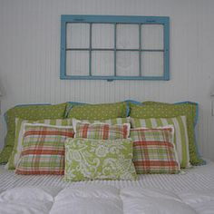 Architectural Salvage - Style Guide: Bedroom Accents - Southernliving. Instead of artwork, use large salvage pieces, like window sashes, painted in bright colors.