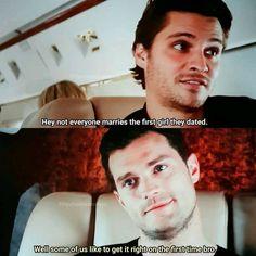 Elliot et Christian Fifty Shades Cast, Fifty Shades Quotes, 50 Shades Trilogy, Fifty Shades Series, Fifty Shades Movie, Fifty Shades Darker, Christian Grey, Jamie Dornan, 50 Shades Freed