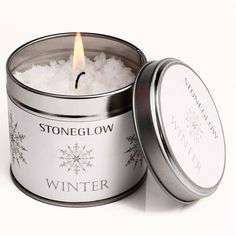 Stoneglow Seasonal Collection Snow Topped Candle Tin - Winter (€12) ❤ liked on Polyvore featuring home, home decor, candles & candleholders, candles, accessories, white candles, white home decor, winter candles, tin candles and colored candles