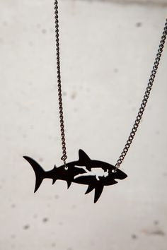 Jaws / shark & diver neckalce.