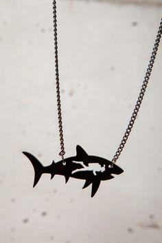 Jaws / shark & diver neckalce.