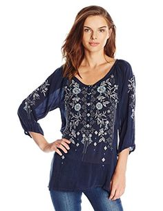 Johnny Was Autumn Bloom keyhole tie Embroidered tunic deep dawn L