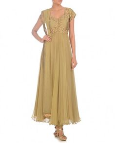 Light Olive Anarkali Suit with Embroidered Yoke - Aneehka - Designers