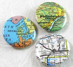 Custom Map Pinback Button - Choose a map, by XO Handworks $2