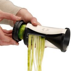 Turns any veggie into spaghetti: zucchini, squash, carrots etc. Neat little kitchen gadget!