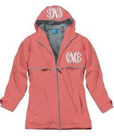 Monogrammed New England Rain Jacket-Coral #RaincoatsForWomenChristmasGifts