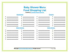 shopping list templates baby shower foods and baby shower checklist