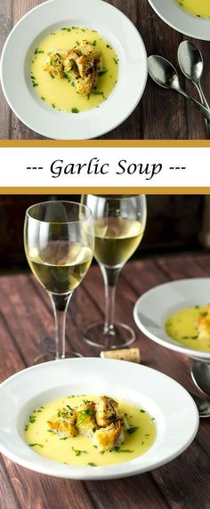 A velvety smooth garlic soup garnished with homemade croutons | girlgonegourmet.com