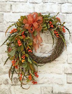 Fall Berry Wreath, Fall Wreath for Front Door, Front Door Wreath for Fall, Fall Door Wreath, Autumn Wreath, Fall Grapevine Wreath, Orange Berries, Copper Bow, Fall Decor, Thanksgiving Wreath, Autumn Decor, Fall Decorations, Thanksgiving Decor, by Adorabella Wreaths!