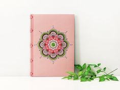 Mandala Notebook. Embroidered A5 Notebook. Mandala Journal. Yoga Book. Pink Yoga Notebook. Colorful Boho Book. Stitch Art. Bohemian Journal