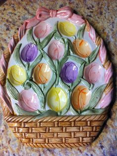 Ceramic Easter Basket Tray Easter Eggs by XStitchedMessage on Etsy, $12.95