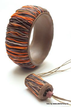Bangle and pendat made with Czextruder.com by www.atelierlucy.cz