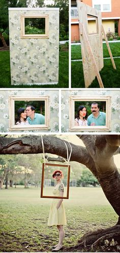 Moldura para fotos. canto para foto na arvore  Framed Photo Booths - Cute idea for a wedding or family reunion!  String a digital camera to a nearby table to encourage people to take photos of eachother. Something the Hogge's could totally make...