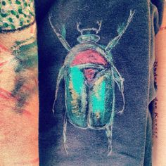 HandDrawn Textile, Scarab on sleeve detail Tee #13 by Moth_Bzzz