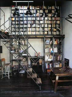 home-library-industrial-style - Panda's House Interior Architecture, Interior And Exterior, Modern Interior, Mini Loft, Home Libraries, Industrial Chic, Industrial Design, Industrial Shelving, Industrial Industry