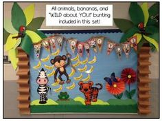 """This adorable bulletin board can be used to start the school year with your primary students or could be used at any time you do a rainforest/jungle habitat study! The animals, bunting, and bananas comes in a set called- """"Rainforest Decor and More!"""""""