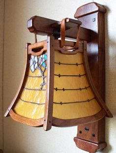 Greene and Greene Style Arts and Crafts Hand Crafted Wood Lighting with Hand Crafted Hand Leaded Art Glass : Craftsmen Hardware Company, LTD. $1850. Gamble house reproduction lighting.