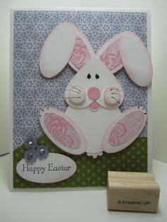 Goin' Over The Edge: Punch art bunny rabbit card for Easter