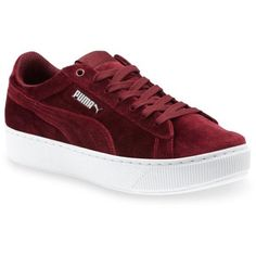 Puma  Vikky Platform Sneaker ($75) ❤ liked on Polyvore featuring shoes, sneakers, red, puma trainers, puma footwear, red platform sneakers, red velvet shoes and puma shoes
