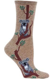 Climbing Koala Fun Novelty Animal Socks for Women in Hemp