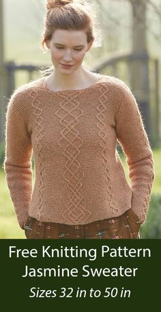 Free Knitting Pattern Jasmine Sweater Long sleeved pullover knit with cable designs on a garter stitch background. Options for long or short sleeves, crew neck or collar. Sizes To Fit Bust: 32-34 36-38 40-42 44-46 48-50 ins. DK weight yarn. Designed by Marie Wallin. Long Sweaters, Pullover Sweaters, Sweater Knitting Patterns, Free Knitting, Dk Weight Yarn, Garter Stitch, Short Sleeves, Long Sleeve, Turtle Neck