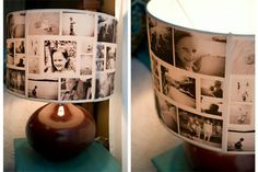 DIY photo lampshade - I did a couple like this,but it is hard to find lamp shades that aren't larger at the bottom than at the top ( slanted). Lampe Photo, Photo Lamp, Diy Photo, Photo Craft, Photo Ideas, Creative Crafts, Fun Crafts, Diy And Crafts, Photowall Ideas