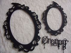 3 Piece Set of Very Elegant and Creepy Scrapbook Frames and Sentiment Scrapbook Embellishment